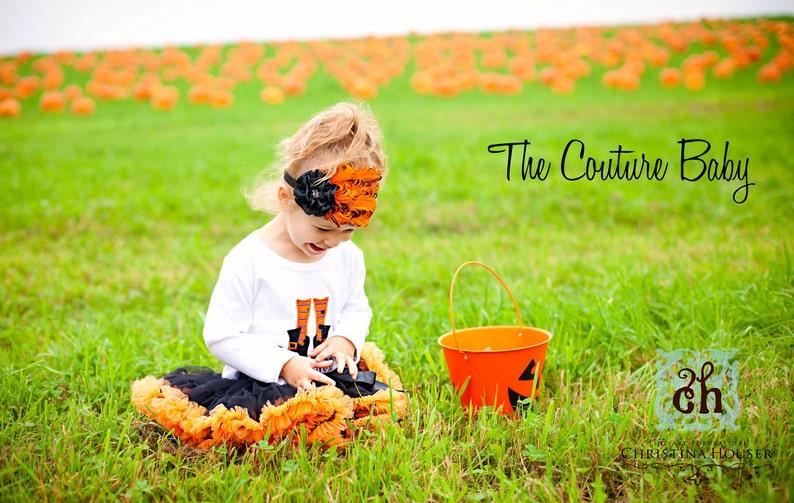 Orange and Black Curley Feather Pad Halloween Crystal or Pumpkin Center Flower Headband Newborn Infant Toddler Big Girl Headband FREE SHIP
