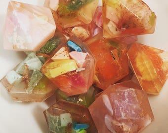 Gem Soaps-SET OF 6-Keylime Essential Oil-Handmade Soap, keylime Soap, Glycerin Soap, Rock Soap