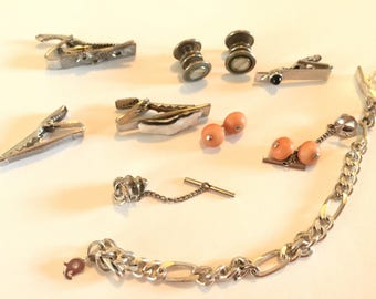 Lot of Swanky  of Vintage Tie Bars and  Money Clips Perfect for Steampunk and Assemblage