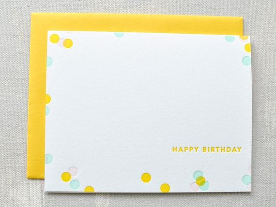 Letterpress birthday card  confetti  cards for her  birthday gift  card for friend  card for girlfriend  best friend  vintage print