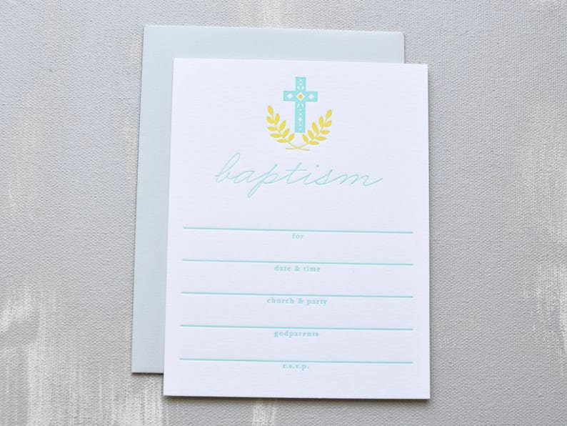 Baptism Letterpress Invitations
