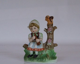 Vintage Nippon Figurine Girl with Horn 1950s