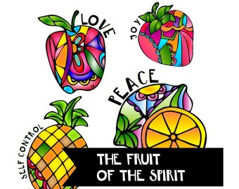 Journals or Bibles Fruit of the Spirit Bible Stickers Great for 100 days of Bible Promises printable stickers. Digital