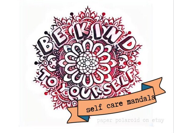 Self Care Mandala Coloring PageColouring Pages Printable Etsy