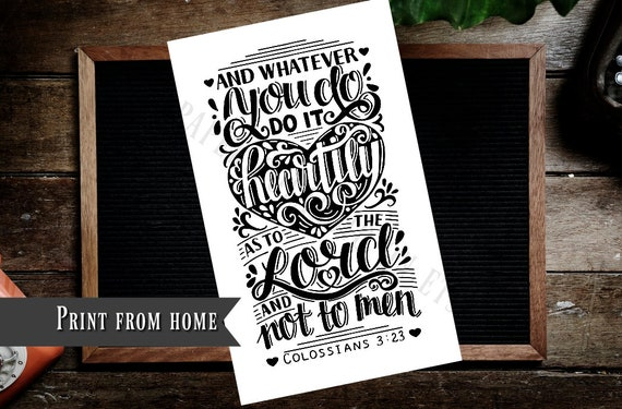 Colossians 3 23 Bible Journaling Printable Margin Strips Coloring