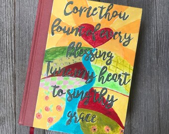 Hand Painted Bible. Come thou fount. NKJV Beautiful Word Bible, hardcover. Red