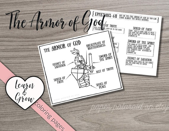 The Armor Of God Coloring Sheet Digitals For Kids Teaching Children Bible Verses Sunday School Lesson Helmet Of Salvation Truth Peace By Paper Polaroid Catch My Party