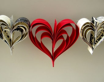 Red Love Trio paperie heart garland, banner