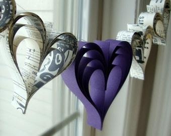 Heart garland banner Eggplant