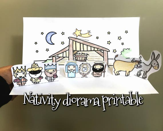 Christmas Nativity Printable Pdf Download For Kids And Adults Manger Nativity Scene Cresh Color And Diy Diorama Creche