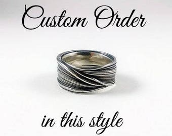 custom wide band mitsuro ring in sterling silver