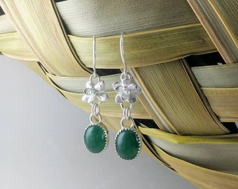 Succulent Earrings, Sterling Silver, Succulent Dangle Earrings, Green Earrings, Garden Earrings, Aventurine Earrings