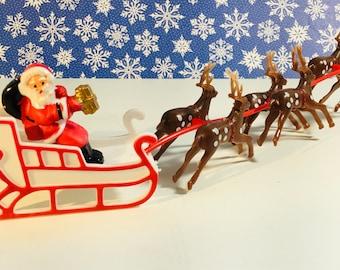 Santa Snowman Reindeer on Sleigh Models Handmade Wood Christmas Ornament Decor