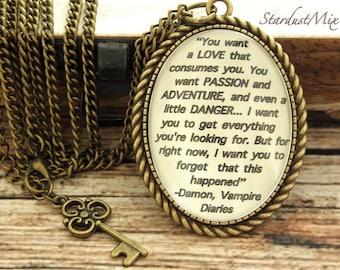 Necklace vintage,retro,antique style,chain,Vampire diaries quote,movie quote,book quote necklace,movies quote,Vampire diaries jewellery