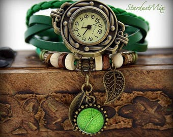 Womens watch leather bracelet vintage watch style boho bracelet gift for her bohemian jewelry steampunk watch sister gift nature jewelry