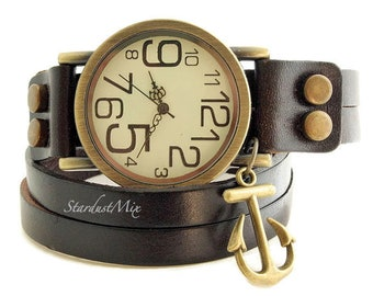 Leather strap unisex watch with nautical anchor charm. Boho jewelry.