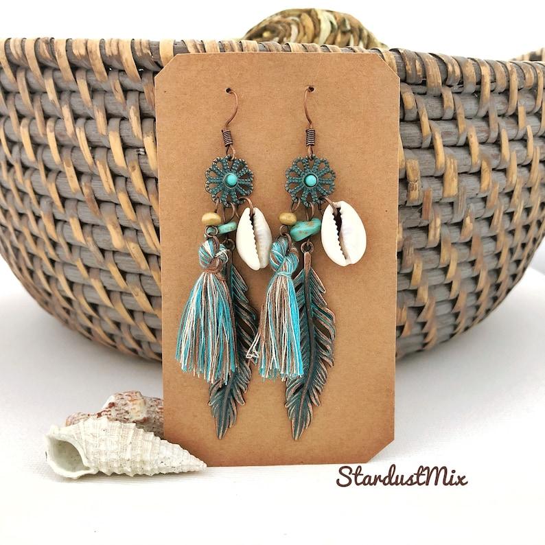 Tassel earrings with natural shell,summer Ethnic earrings,dangle boho earrings,boho jewelry,bohemian dainty earrings,gift for women