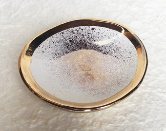 Gold rimmed Ceramic Dish, wedding, bridal, bowl, catchall, jewelry, ring dish, soap dish, candle holder, teabag holder, spoonrest.