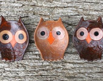 Owl Ceramic Dish, teacher gift, bowl, catchall, jewelry, ring holder, decor, soap dish, candle holder, teabag holder, spoonrest.