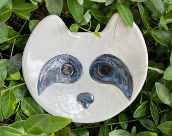 Raccoon Ceramic Dish, small bowl, jewelry, catchall, candy dish, home decor, soap dish, candle holder, teabag holder, spoonrest.