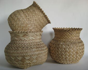 Vintage Rattan Baskets Bohemian Houseplants Boho Style Rustic Plant Basket Modern Farmhouse Spa Bathroom Organization
