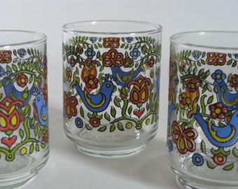 Vintage bird floral juice glasses, blue bird, 3 in set, vintage kitchen decor, folk art