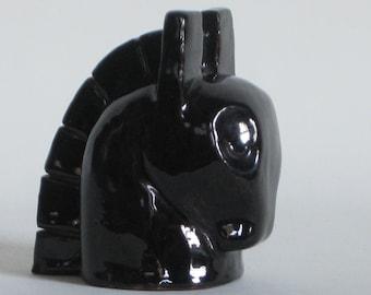 Mid century modern small black ceramic horse head, studio pottery, unique gift, equestrian