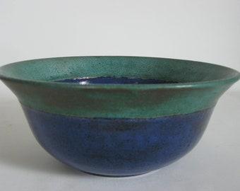 Vintage blue and green bowl, speckled glazed ceramic, studio pottery, houseplant decor, modern farmhouse, vintage stoneware