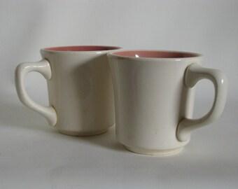 Vintage Taylor white and pink mug, Made in USA, Mid century coffee mug, Taylor Smith mug, 2 in set