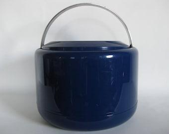 Mid Century ice bucket, Erik Magnussen, Stelton Denmark, midnight blue, Danish, Scandinavian design, Kartell, barware, modern, pop art