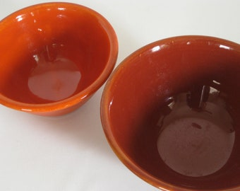 Vintage Bauer ringware pottery bowl, papaya, number 18, made in USA, California pottery, vintage pottery, fiesta ware