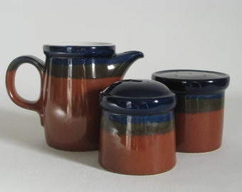 Vintage Japanese stoneware, stackable salt and pepper and creamer set, rust and blue, mid century modern pottery