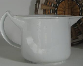 Mid Century Modern Gravy Warming Pitcher, Syrup Warmer, Sauce Warmer, German Porcelain, BMF Nurnberg Germany, White Kitchenware