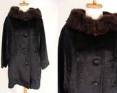 Faux Sheared Persian Lamb Coat with Real Mink Fur Collar. vintage 50s 60s Black Fur Winter Dress Coat. Size M Medium