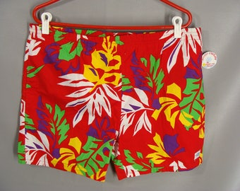 7670ccefd5 80s Red Hawaiian Shorts Floral Swim Trunks. Flower Surfer Board Shorts  Jams. Soccer Pockets by California Shores. NOS Bathing Suit L 36 38