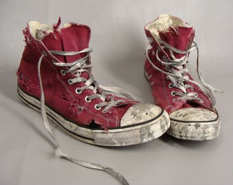 980716c60a93 DISTRESSED ZOMBIE SHOES Halloween Costume. The Walking Dead Apocalypse Shoes.  Red Converse High Tops Mens 13 Womens 15