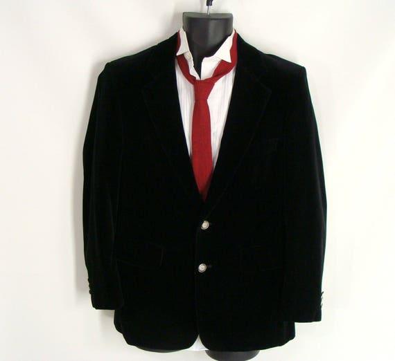 Mens Black Velvet Sportcoat Fall Winter 80s 90s Blazer Etsy