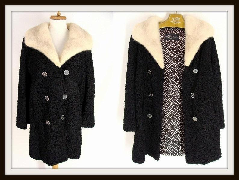 Womens 50s Black Persian Curly Lamb Wool Winter Dress Coat. image 0