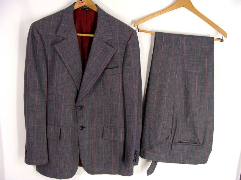 vintage Christian Dior Suit Gray Red Square Stripe Wool Suit image 0