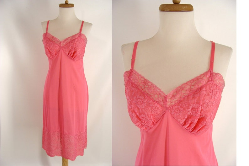 60s Pink Vanity Fair Nylon Tricot & Lace Full Dress Slip. image 0