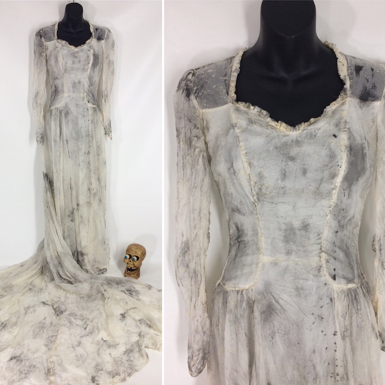 Vintage 40s Zombie Corpse Bride Vampire Wedding Dress Ghost Grave Walker Halloween Costume Day Of The Dead Dress Distressed Gown Size 0 Xxs