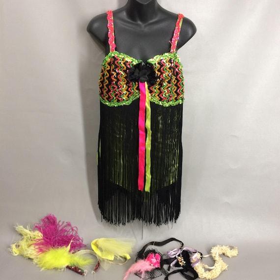 vintage 50s Satin Fringe Dance Costume 60s Las Veg