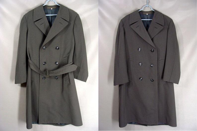 vintage 60s Military Trench Coat Mens Gray Gabardine Rain Coat image 0