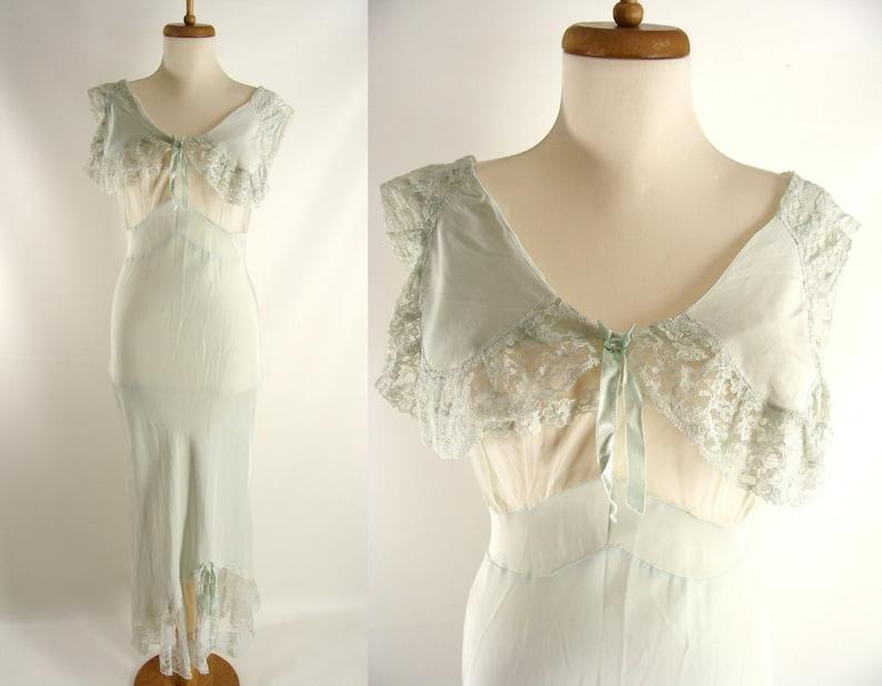 vintage 30s 40s Sexy Bias Cut Rayon Nightgown Pale Pastel image 0