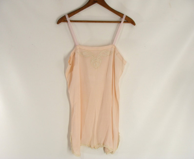 20s Lingerie Peach French Silk Lace Step In. Teddy Chemise image 0