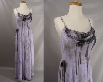 Black Bloody Gown. Elegant Zombie. Zombie Prom Queen. Vampire Bride Dress. Distressed Purple Evening Gown. Halloween Costume. size 12 M L