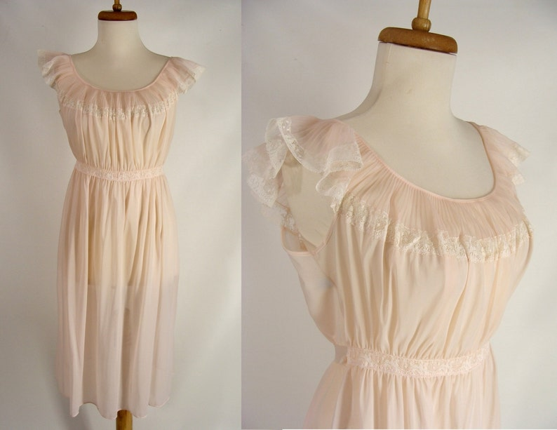50s CARTER'S Silky Pink Dupont Nylon Nightgown. Perma image 0