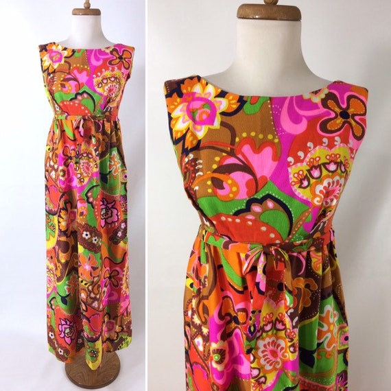 60s 70s Psychedelic Day Glo MOd Flower Print Hawai