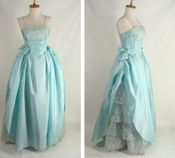 Vintage 50s Prom Dress Southern Belle Gown Pastel Blue Seafoam Etsy