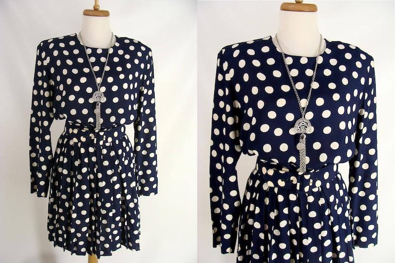 Blue Polka Dot Short Fall Dress 90s The Limited Boho Dress image 0